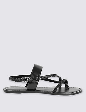 Leather Plait Strap Sandals