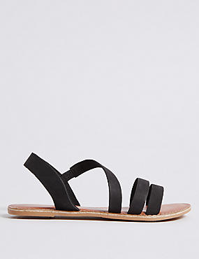 Leather Asymmetric Sandals