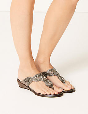 Bling Wedge Mule Sandals, PEWTER, catlanding