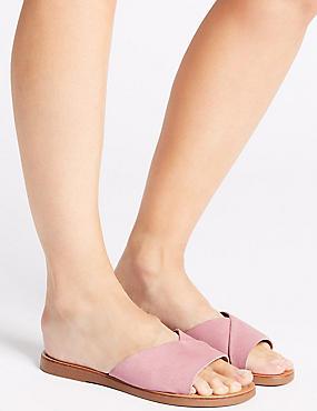 Suede Mule Sandals, LIGHT PINK, catlanding