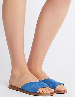 Suede Mule Sandals, BLUE, catlanding