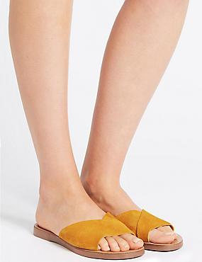Suede Mule Sandals, OCHRE, catlanding