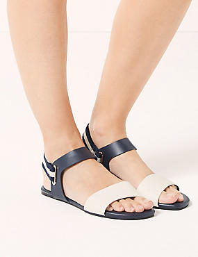 Elastic Ring Detail Sandals , NAVY MIX, catlanding