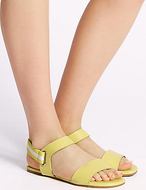 Elastic Ring Detail Sandals , LEMON, catlanding