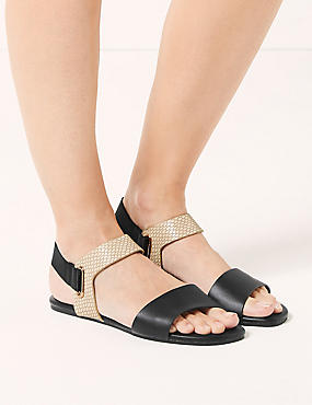 Elastic Ring Detail Sandals , , catlanding