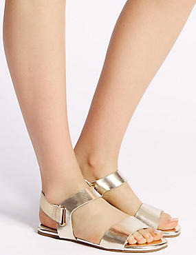 Elastic Ring Detail Sandals , METALLIC, catlanding
