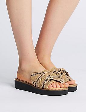Woven Knot Mule Sandals, NEUTRAL, catlanding