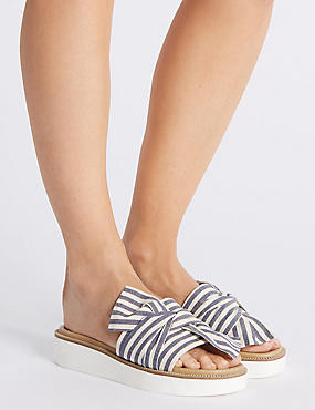 Striped Woven Knot Mule Sandals, NAVY MIX, catlanding