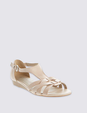 Leather Weave Front T-Bar Sandals