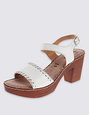 Leather Two Part Block Heel Clog Sandals