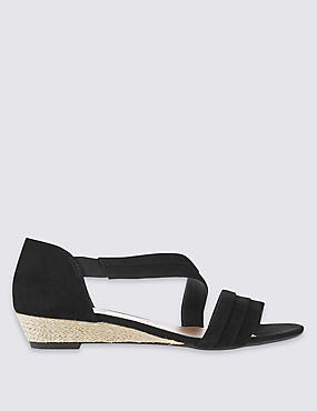 Suede Wedge Heel Asymmetrical Sandals