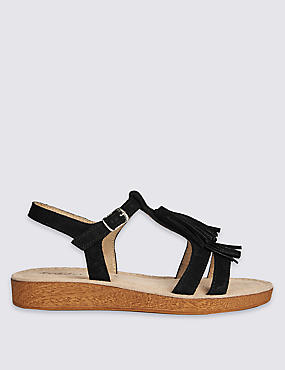Suede Fringe Sandals with StainAway™