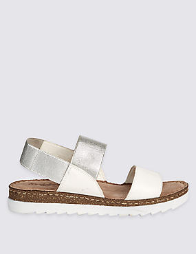 Leather Elastic Two Band Sandals