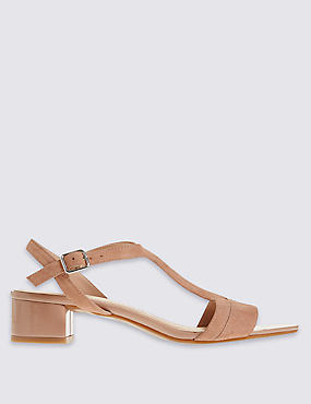 Suede Block Heel T-Bar Sandals