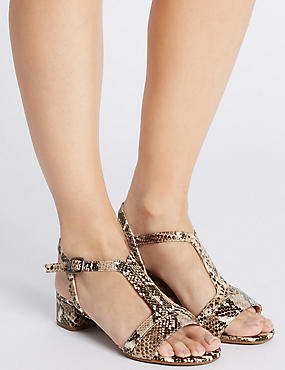 Leather Block Heel T-Bar Sandals