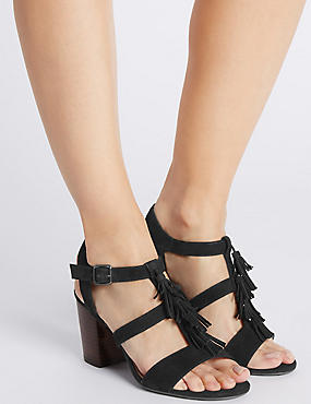 Suede Angular Heel Tassel Sandals