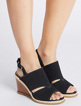 Suede Wedge Heel Sandals