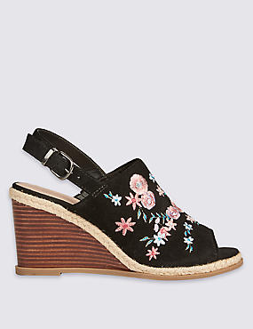 Suede Wedge Heel Embroidered Sandals