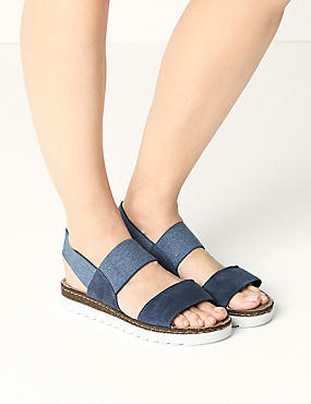 Suede Elastic Sandals, DENIM, catlanding