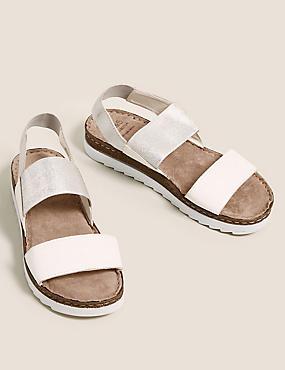 Leather Elastic Sandals, WHITE MIX, catlanding