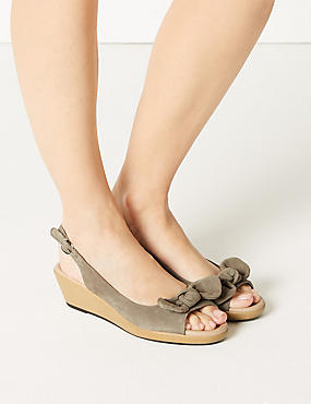 Suede Wedge Bow Sandals, MINK, catlanding