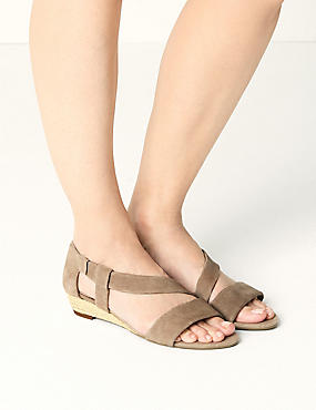 Suede Asymetric Wedge Sandals, MINK, catlanding