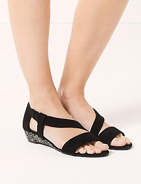 Suede Asymetric Wedge Sandals, BLACK, catlanding