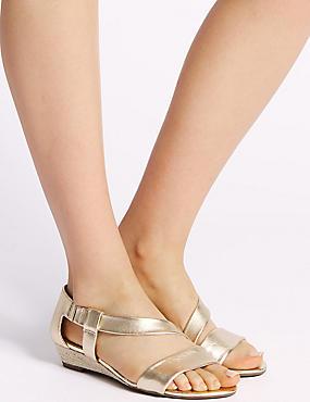 Wedge Heel Leather Asymmetric Sandals, GOLD, catlanding