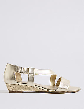 Wedge Heel Leather Asymmetric Sandals