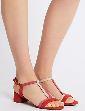 Leather Block Heel T-Bar Sandals, FLAME, catlanding