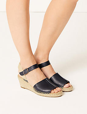 Leather Wedge Heel Espadrilles, NAVY, catlanding
