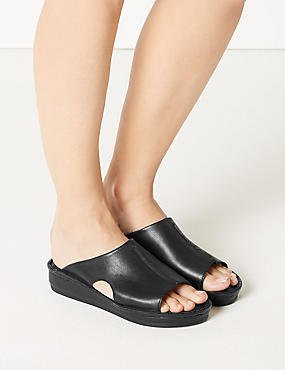 Leather Flatform Seamed Sliders, BLACK, catlanding
