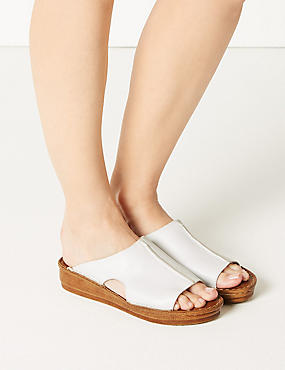 Leather Flatform Seamed Sliders, WHITE, catlanding