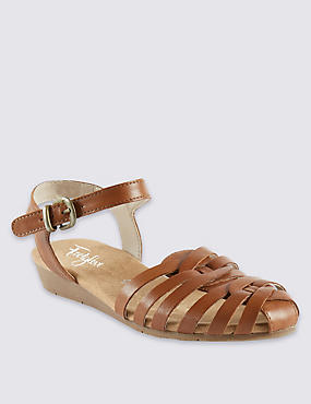 Leather Strappy Weave Sandals