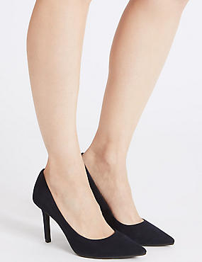 Suede Stiletto Heel Pointed Court Shoes, NAVY, catlanding
