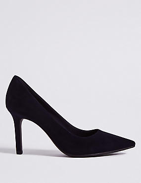Suede Stiletto Heel Pointed Court Shoes