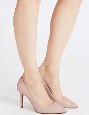 Leather Stiletto Heel Pointed Court Shoes, NUDE, catlanding