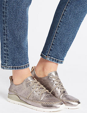 Leather Whipstitch Lace-up Trainers, PEWTER, catlanding
