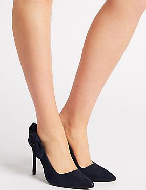 Suede Stiletto Heel Slingback Court Shoes, NAVY, catlanding