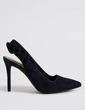 Suede Stiletto Heel Slingback Court Shoes