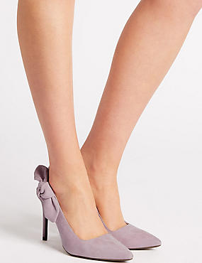 Suede Stiletto Heel Slingback Court Shoes, LILAC, catlanding