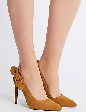 Suede Stiletto Heel Slingback Court Shoes, GINGER, catlanding
