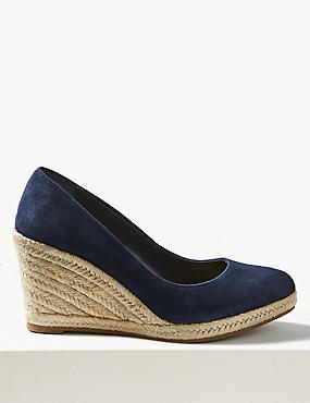 Suede Almond Toe Wedge Heel Espadrilles