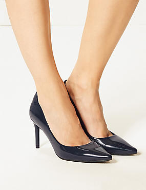 Stiletto Heel Court Shoes , NAVY, catlanding