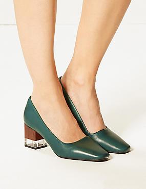 Leather Block Heel Court Shoes, GREEN, catlanding