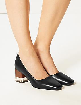 Leather Block Heel Court Shoes, BLACK, catlanding