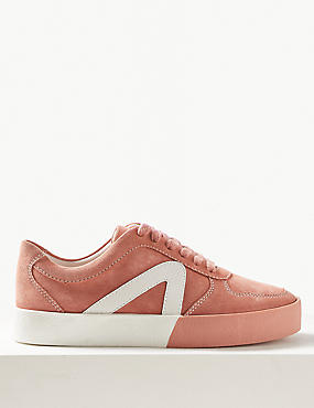 Suede Lace-up Trainers, BLUSH, catlanding