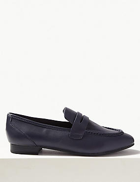 Leather Penny Loafers, NAVY, catlanding