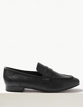 Leather Penny Loafers, BLACK, catlanding