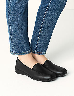 Leather Wedge Loafers